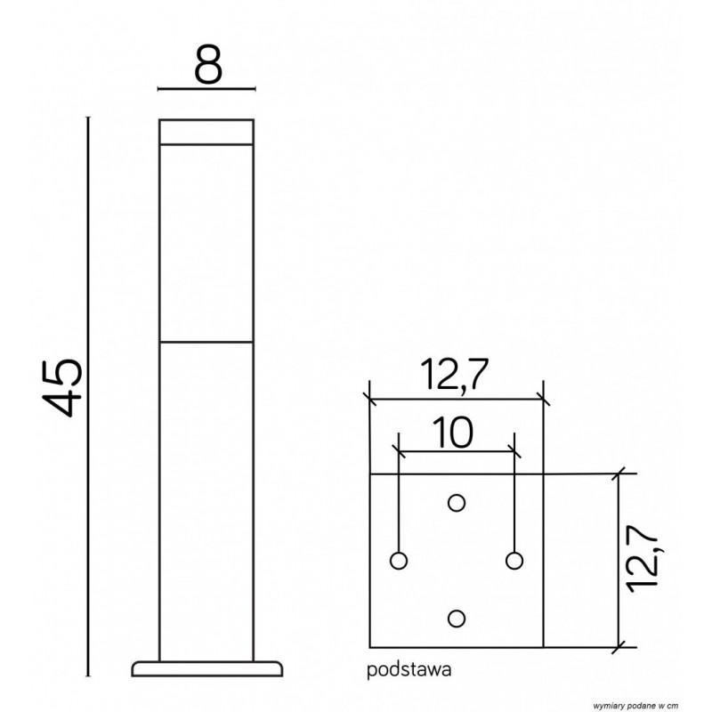 SU-MA INOX KWADRATOWA SS802-450 BL Stojąca