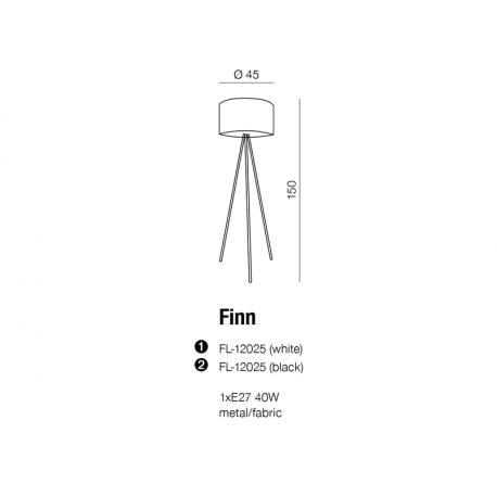 Azzardo FINN WHITE 1xE27 Podłogowa Biały AZ1037
