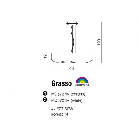 Azzardo GRASSO WHITE 4xE27 Wisząca Biały AZ0556