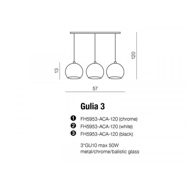 Azzardo GULIA 3 CHROM 3xGU10 Wisząca Chrom AZ0637