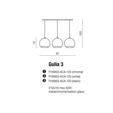 Azzardo GULIA 3 WHITE 3xGU10 Wisząca Biały AZ0638