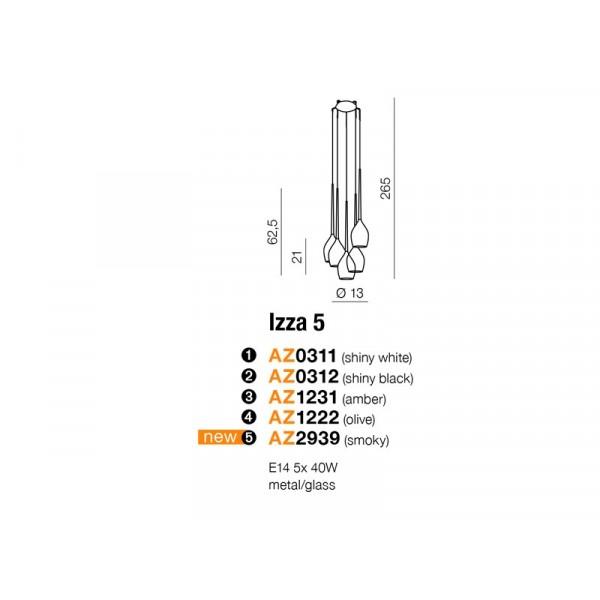 Azzardo IZZA 5 OLIVE 5xE14 Wisząca Oliwkowy AZ1222