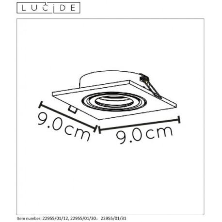 Lucide TUBE Spot Squere D9cm GU10 Biały 22955/01/31 Wpust