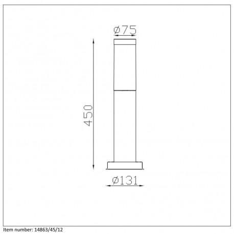Lucide KIBO Słupek IP44 H45cm E27 Satin Chrome 14863/45/12