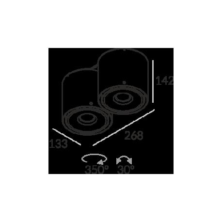 Labra NEX 2 NT edge.LED 2x 7.5W 3-0689 Sufitowa