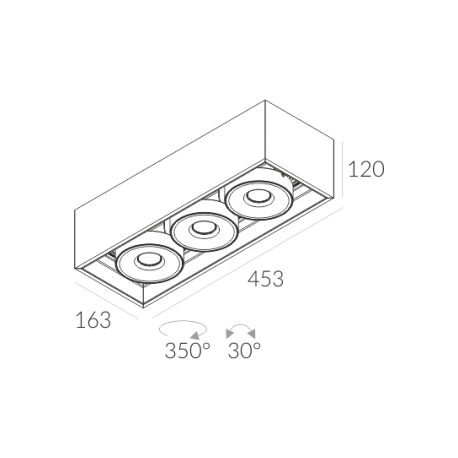 Labra SOLID 163.3 NT edge.LED 3x 7.5W 3-0657 Sufitowa