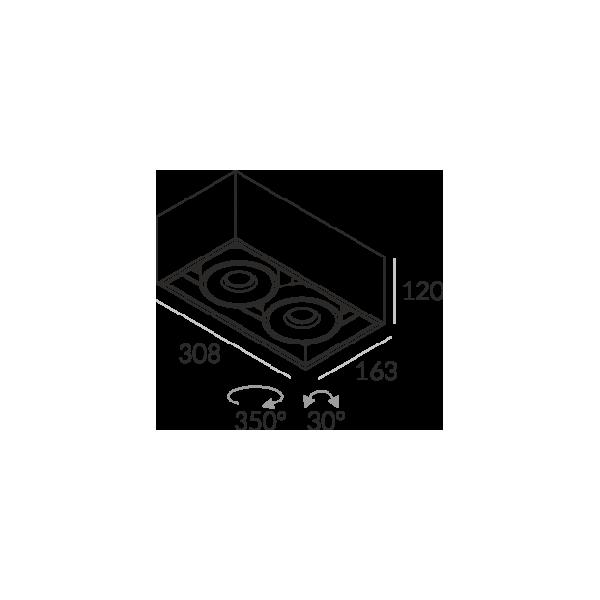 Labra SOLID 163.2 NT edge.LED 2x 13W 3-0660 Sufitowa