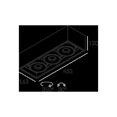 Labra SOLID 163.3 NT edge.LED 3x 13W 3-0661 Sufitowa