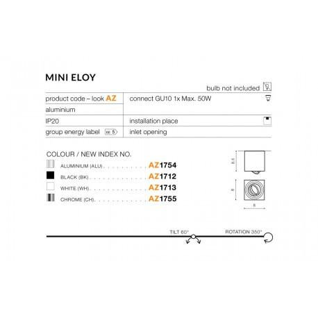 Azzardo MINI ELOY ALUMINIUM 1xGU10 Natynkowa Aluminium AZ1754