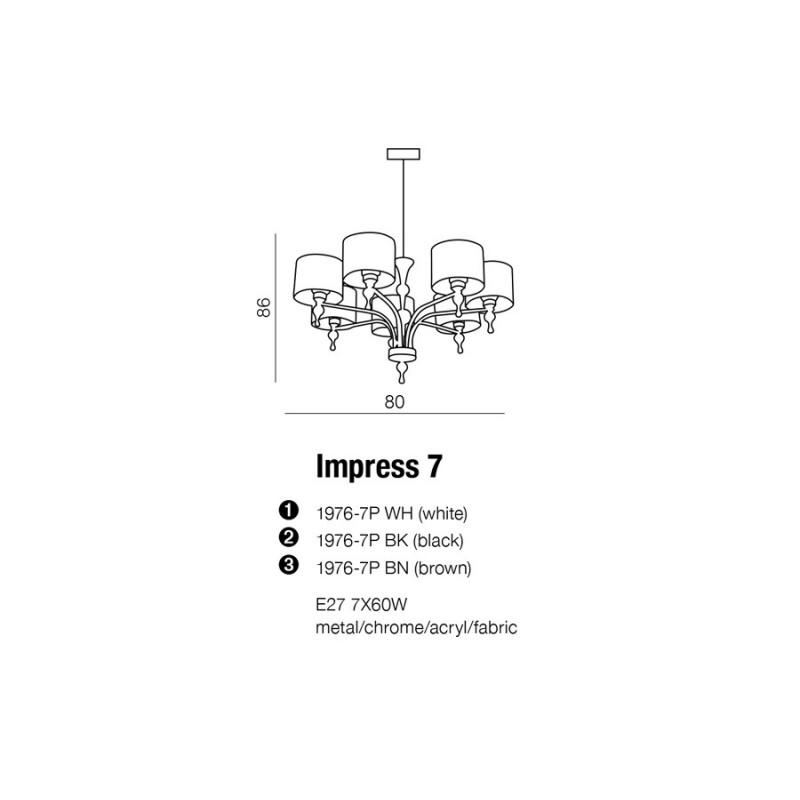 AZzardo IMPRESS 7 Biały 1976-7P Żyrandol