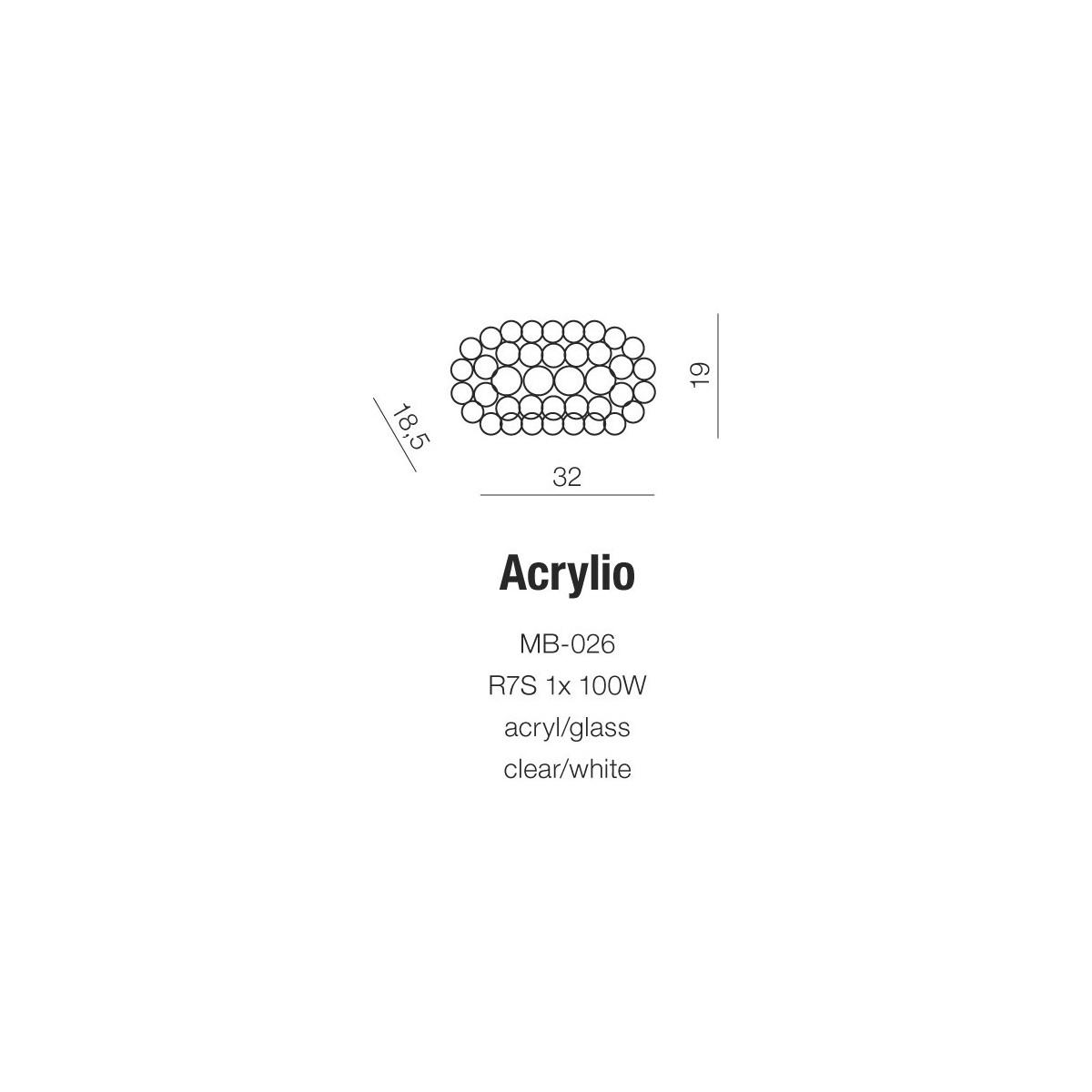 Azzardo ACRYLIO WALL 1xR7s Ścienna Przeźroczysty AZ0052