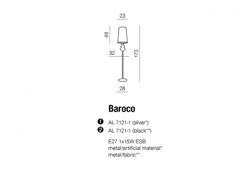 AZzardo BAROCO Czarny Stojąca AZ0063