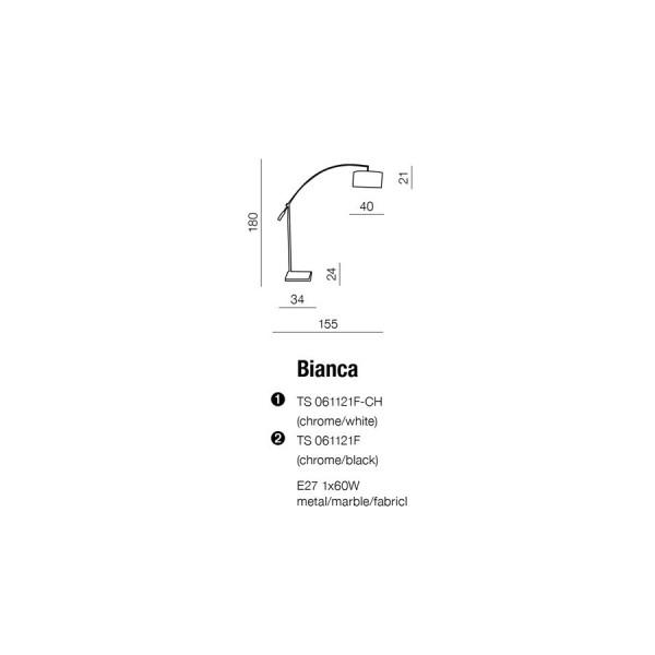 Azzardo BIANCA CHROME/WHITE 1xE27 Podłogowa Chrom/Biały AZ0005
