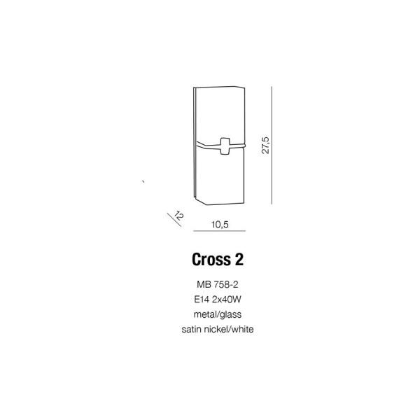 Azzardo CROSS II 2xE14 Ścienna Biały AZ0085