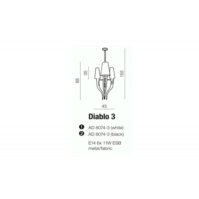 AZzardo DIABLO 3 Biały AD8074-3 WH Wisząca