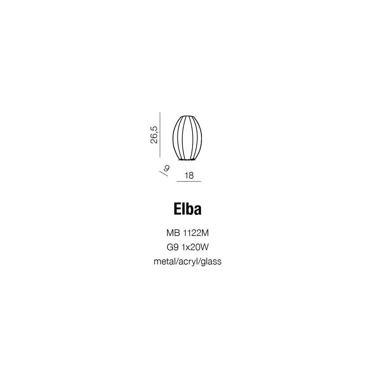 Azzardo ELBA WALL 1xG9 Ścienna Czarny/Biały AZ0092