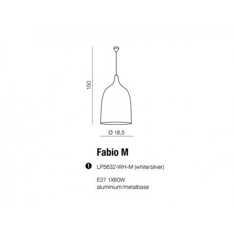 Azzardo FABIO M 1xE27 Wisząca Biały/Srebrny AZ0300