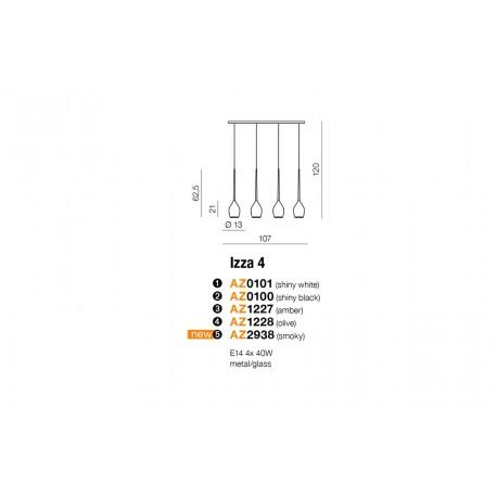 Azzardo IZZA 4 WHITE 4xE14 Wisząca Biały Połysk AZ0101