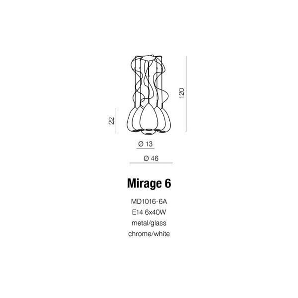 Azzardo MIRAGE 6 6xE14 Wisząca Biały AZ0157