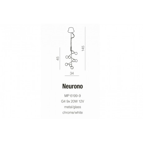 Azzardo NEURONO 9xG4 Wisząca Biały/Chrom AZ0109