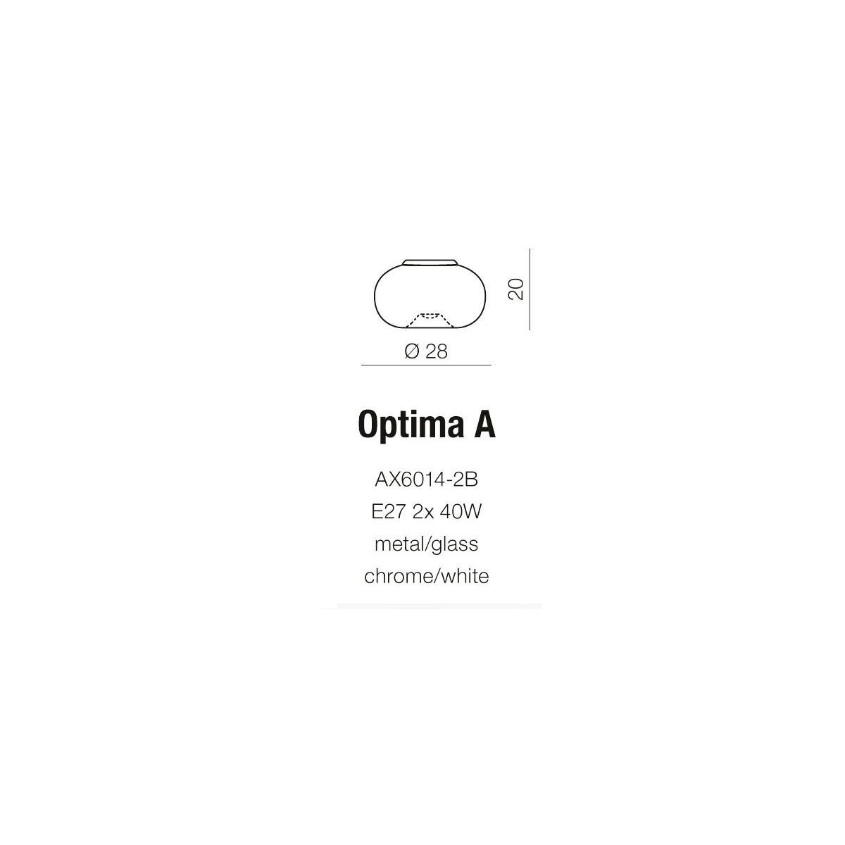 Azzardo OPTIMA A 2xE27 Sufitowa i Ścienna Biały AZ0181