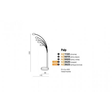 Azzardo PALP CHROM 5xE14 Podłogowa Chrom AZ1122
