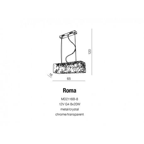 Azzardo ROMA 6xG9 Wisząca Kryształ AZ1510