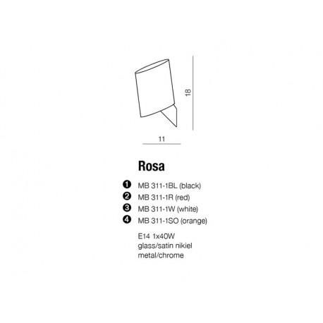 Azzardo ROSA WHITE 1xE14 Ścienna Biały AZ0141