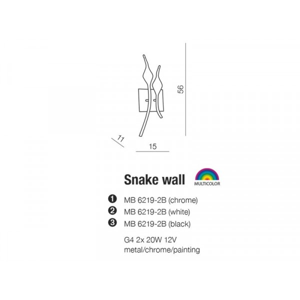 AZzardo Snake Chrom MB 6219-2B Kinkiet