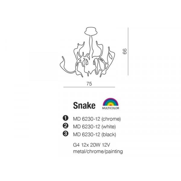 Azzardo SNAKE CHROME 12xG4 Wisząca Chrom AZ0044