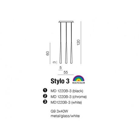 Azzardo STYLO 3 BLACK 3xG9 Wisząca Czarny AZ0118