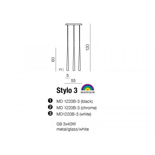 AZzardo STYLO 3 Czarny MD 1220B-3 Wisząca