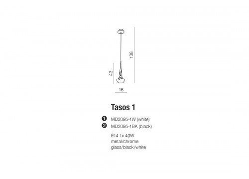 AZzardo TASOS 1 MD2095-1W Wisząca