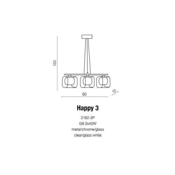 Azzardo HAPPY 3 3xG9 Wisząca Chrom AZ0484