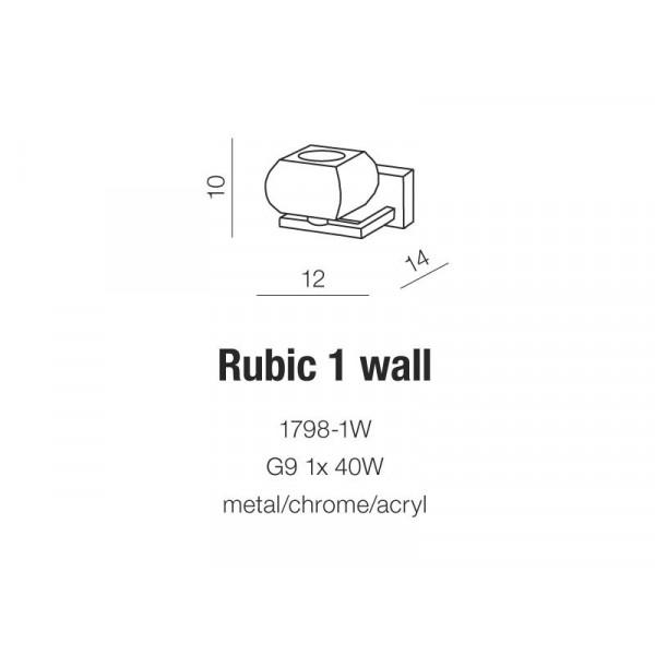 Azzardo RUBIC 1 WALL 1xG9 Ścienna Przeźroczysty/Chrom AZ0488