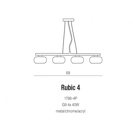 Azzardo RUBIC 4 4xG9 Wisząca Przeźroczysty/Chrom AZ0493