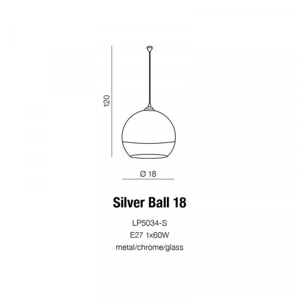 Azzardo SILVER BALL 18 1xE27 Wisząca Chrom AZ0731