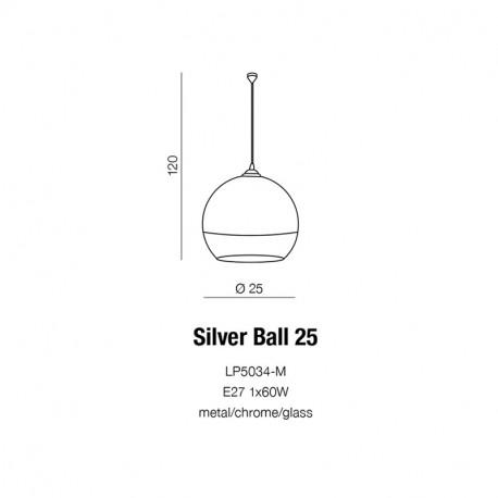 Azzardo SILVER BALL 25 1xE27 Wisząca Chrom AZ0733