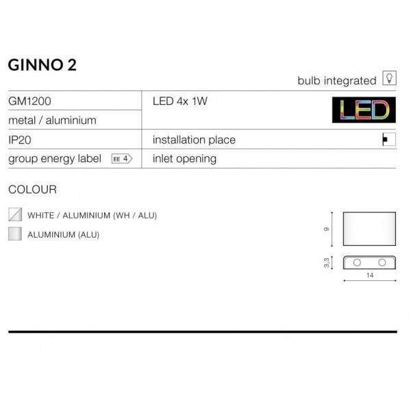 Azzardo GINNO 2 WHITE/ALU 4xLED Ścienna Aluminium AZ0762