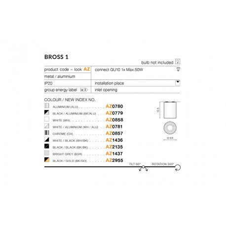 AZzardo BROSS 1 WH/Alu (LED GRATIS) biało Aluminiowa AZ0781 Sufitowa