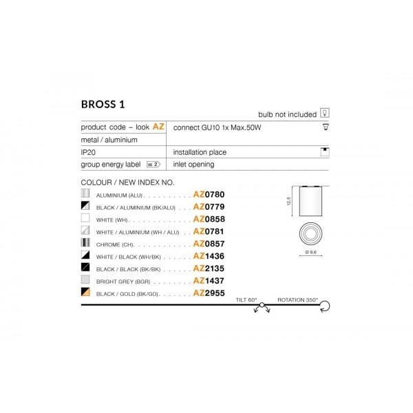 Azzardo BROSS 1 CHROME 1xGU10 Natynkowa Chrom AZ0857