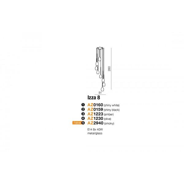 Azzardo IZZA 8 OLIVE 8xE14 Wisząca Oliwkowy AZ1230