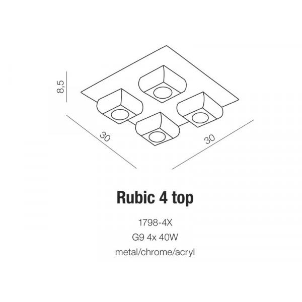 Azzardo RUBIC 4 TOP 4xG9 Sufitowa Przeźroczysty/Chrom AZ0492