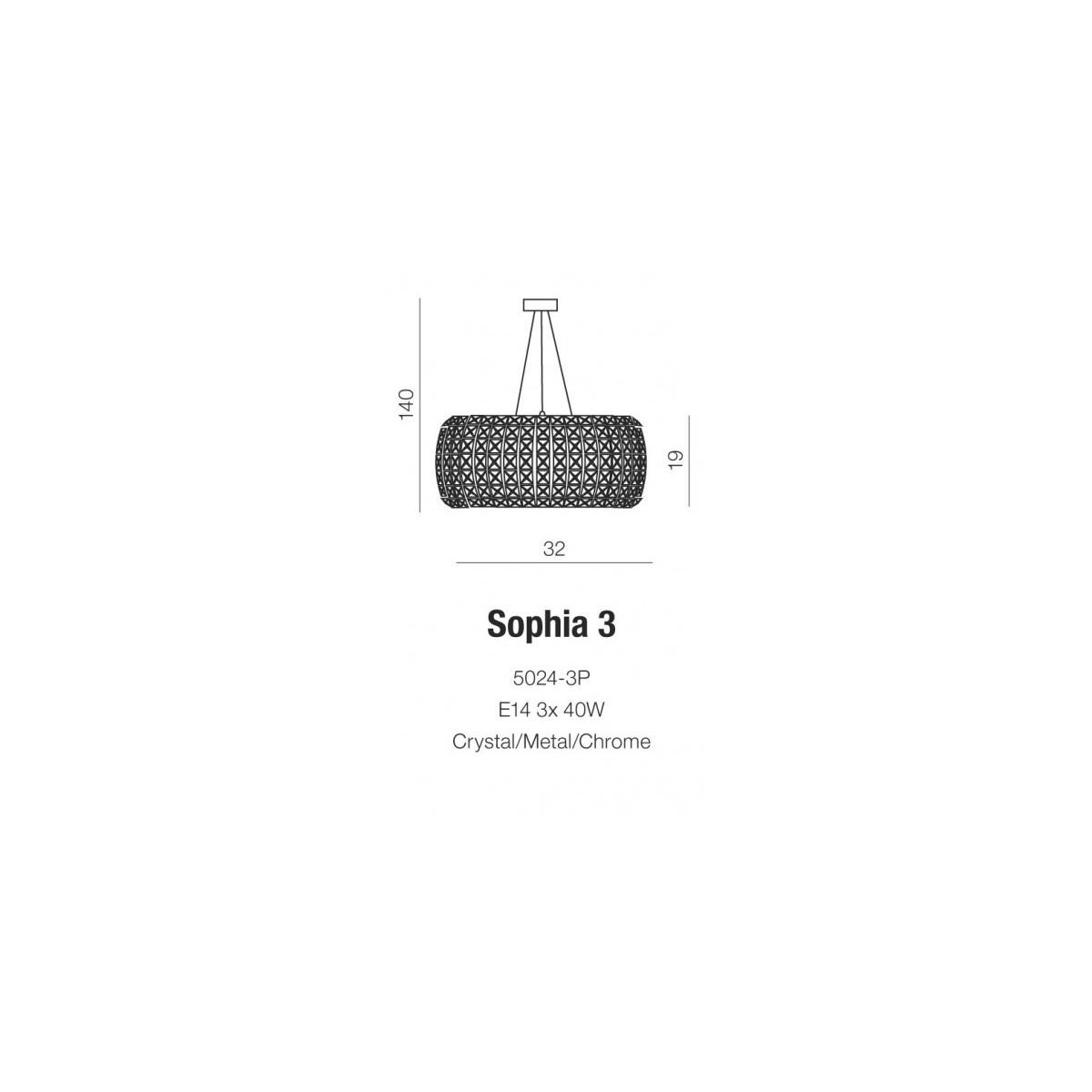 Azzardo SOPHIA 6 6xE14 Wisząca Przeźroczysty/Kryształ AZ0697