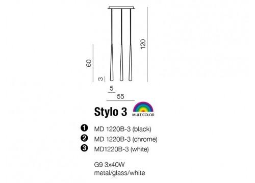 AZzardo STYLO 3 Biały MD 1220B-3 Wisząca