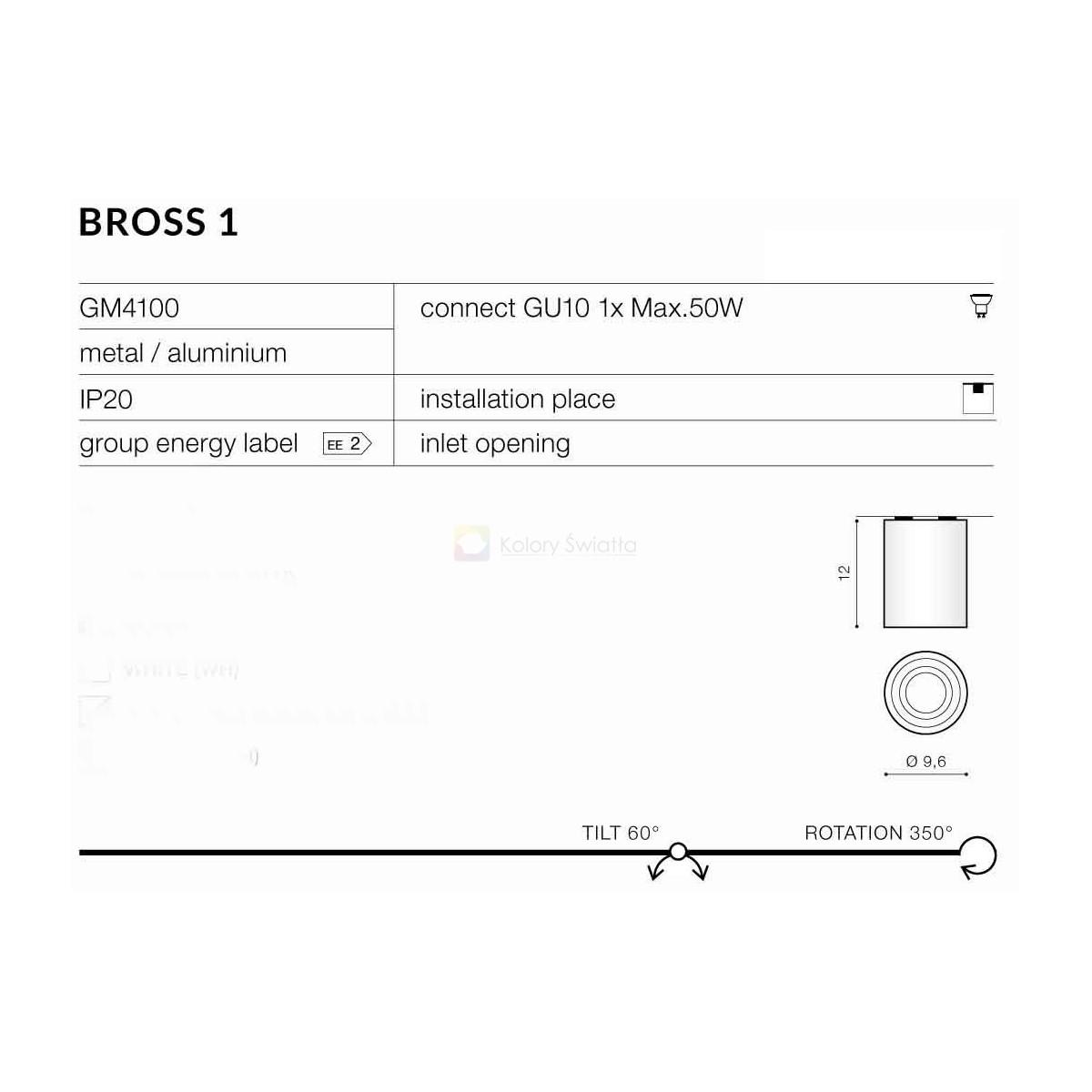 Azzardo BROSS 1 WHITE/BLACK 1xGU10 Natynkowa Biały/Czarny AZ1436