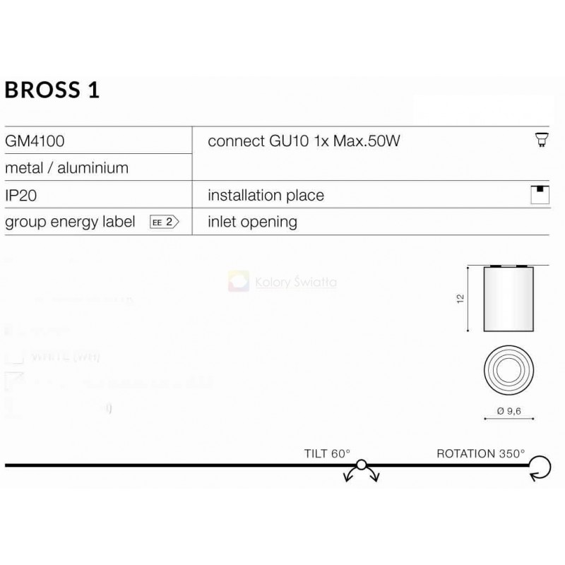 AZzardo BROSS 1 WH/BK GM4100 Sufitowa