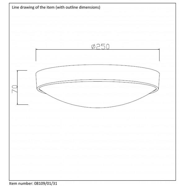 Lucide LEX 1xE27 D23cm Biały 08109/01/31 Plafon