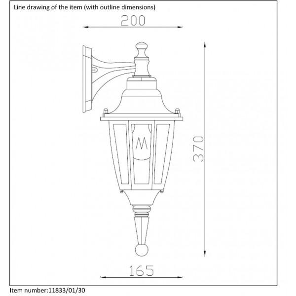 Lucide Outdoor lighting 'down' H37cm E27/60W Black 11833/01/30
