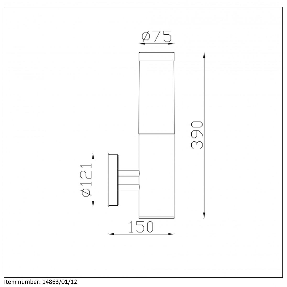 Lucide KIBO Kinkiet IP44 H39cm E27 Satin Chrome 14863/01/12